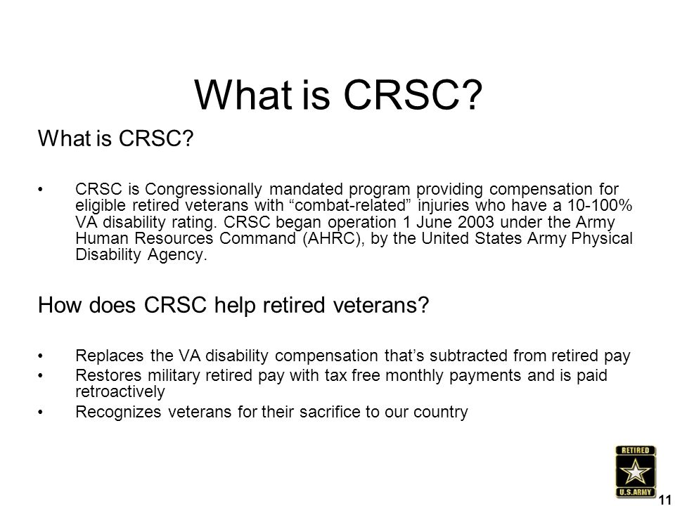 CRSC is a tax-free monetary award,