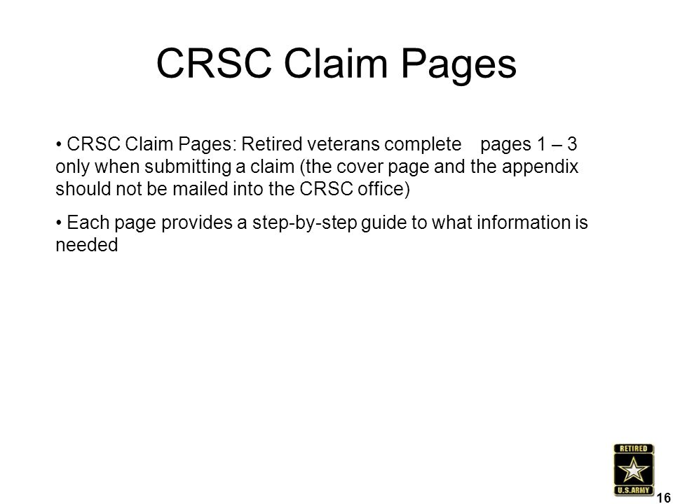CRSC Claim Pages