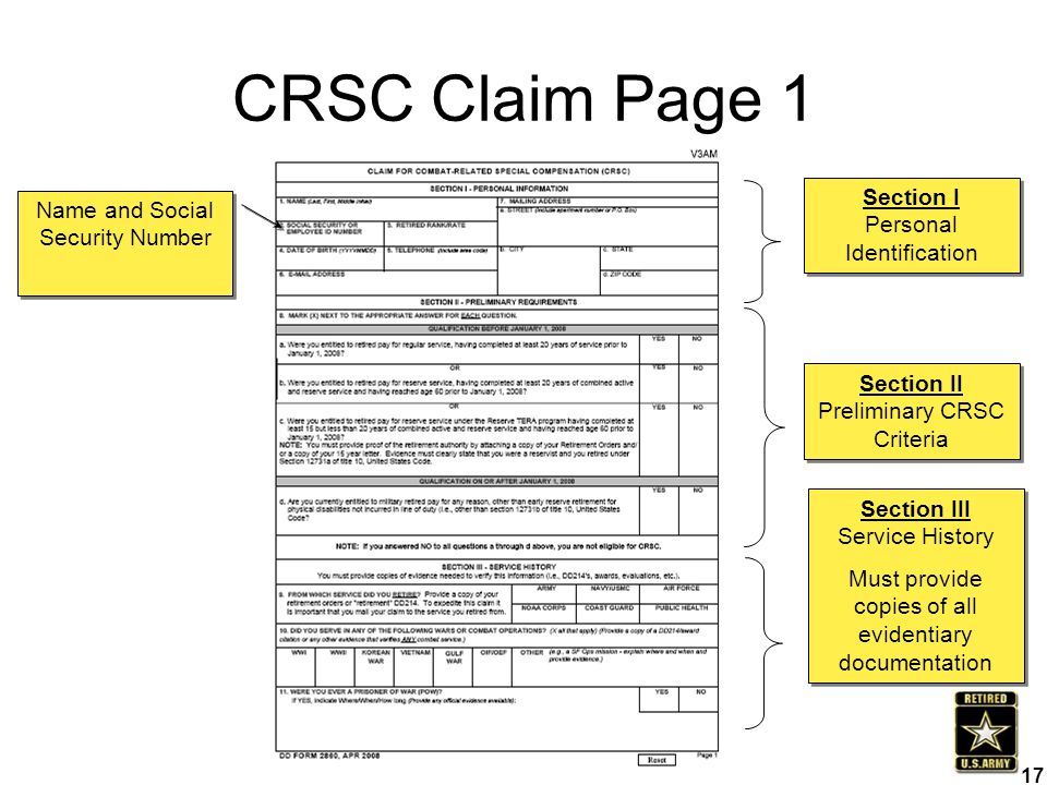 CRSC Claim Page 1 Section I Personal Identification