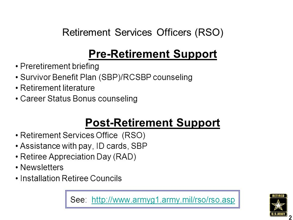 Retirement Services Officers (RSO)