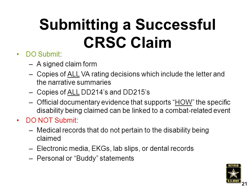Submitting a Successful CRSC Claim