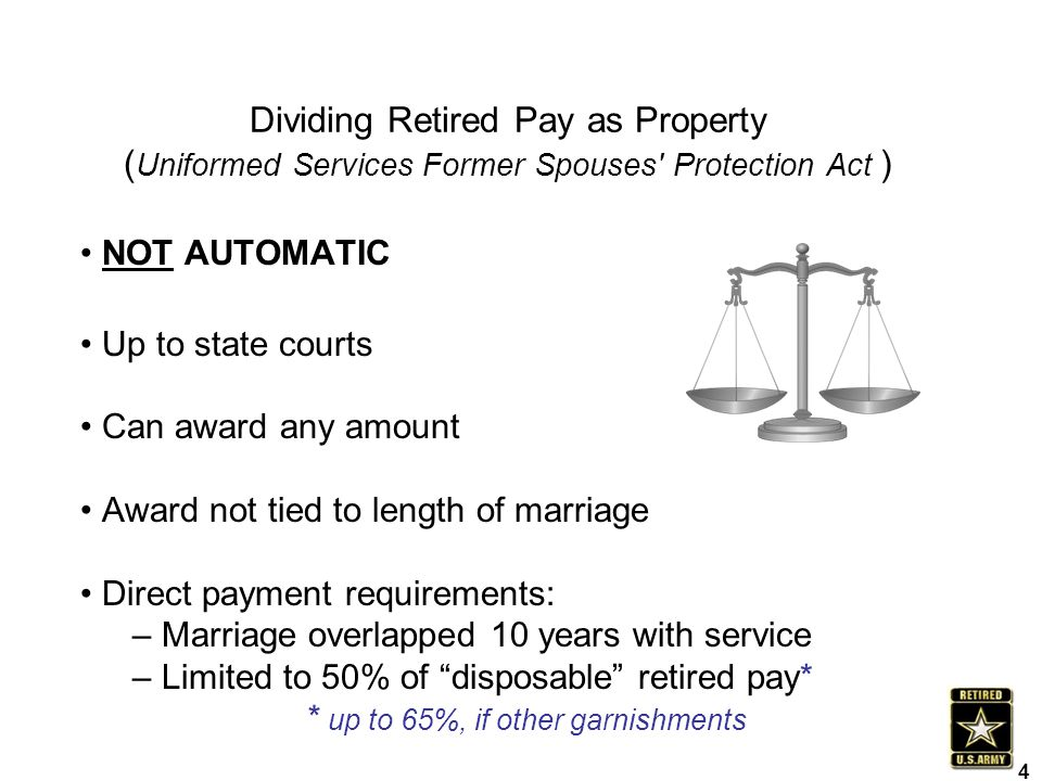 Dividing Retired Pay as Property (Uniformed Services Former Spouses Protection Act )
