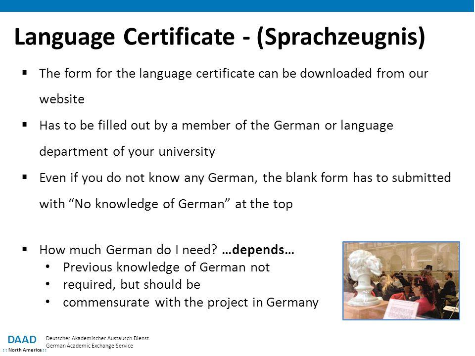 Language Certificate - (Sprachzeugnis)