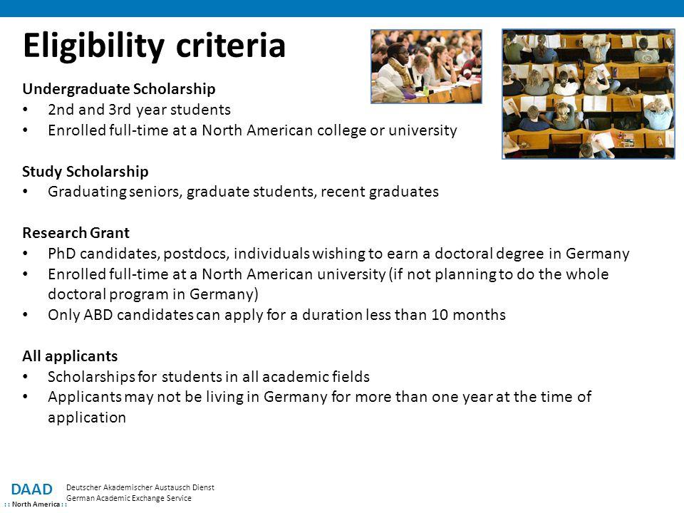 Eligibility criteria Undergraduate Scholarship