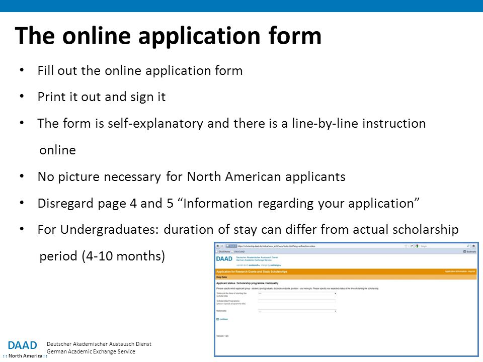The online application form