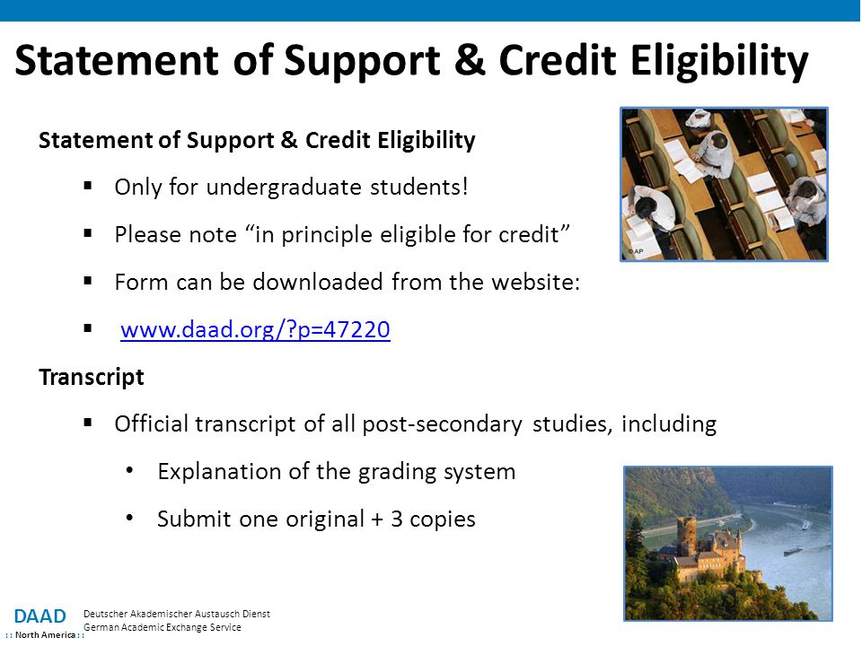Statement of Support & Credit Eligibility