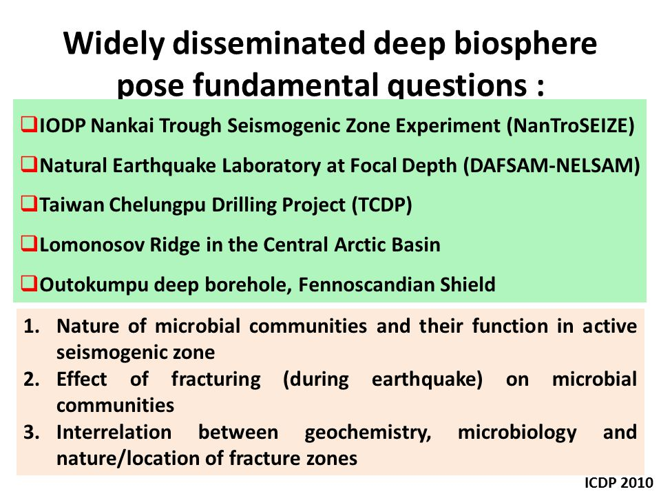 Widely disseminated deep biosphere pose fundamental questions :
