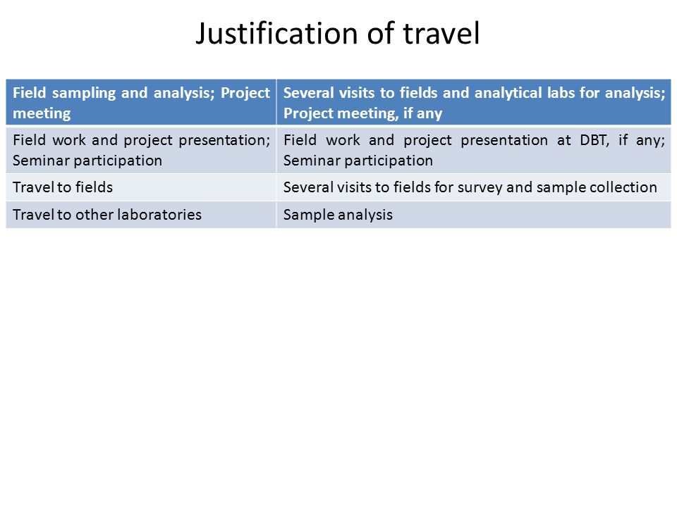 Justification of travel