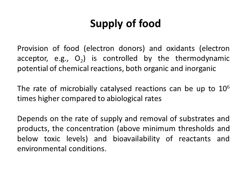 Supply of food