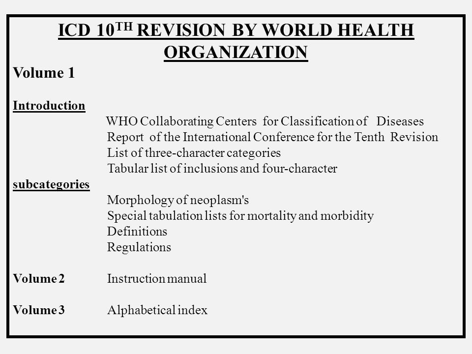 ICD 10TH REVISION BY WORLD HEALTH ORGANIZATION