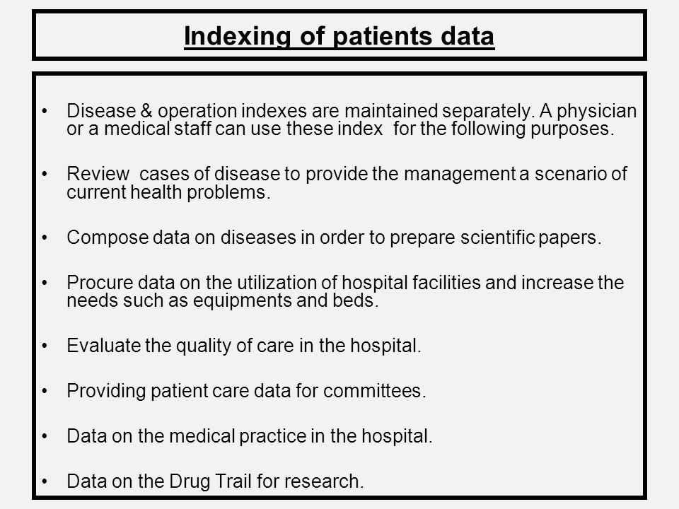 Indexing of patients data