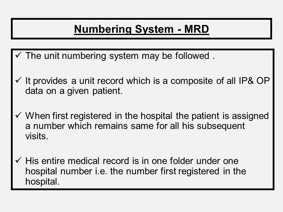 Numbering System - MRD The unit numbering system may be followed .