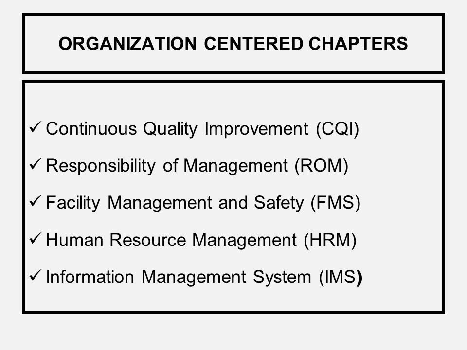 ORGANIZATION CENTERED CHAPTERS