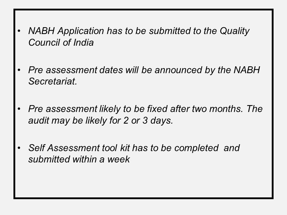 NABH Application has to be submitted to the Quality Council of India