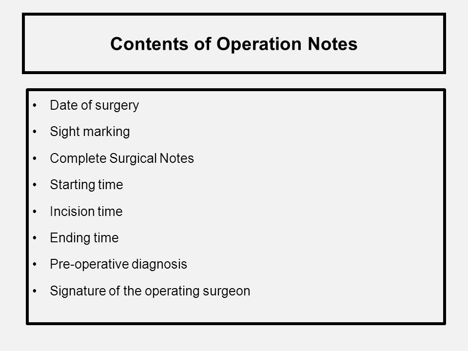 Contents of Operation Notes