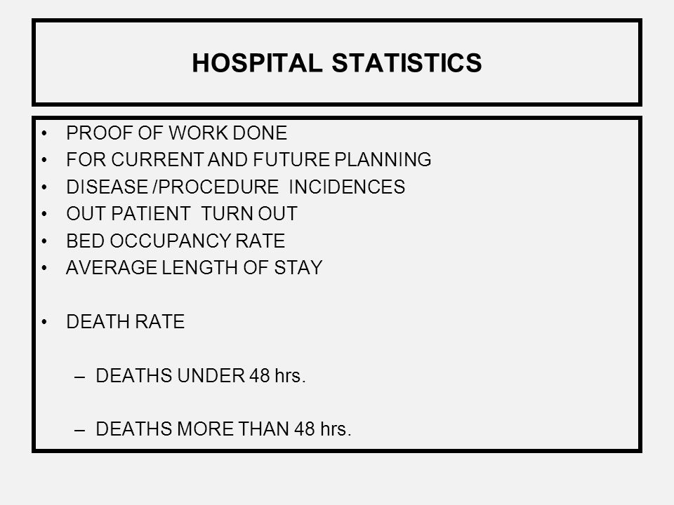 HOSPITAL STATISTICS PROOF OF WORK DONE FOR CURRENT AND FUTURE PLANNING