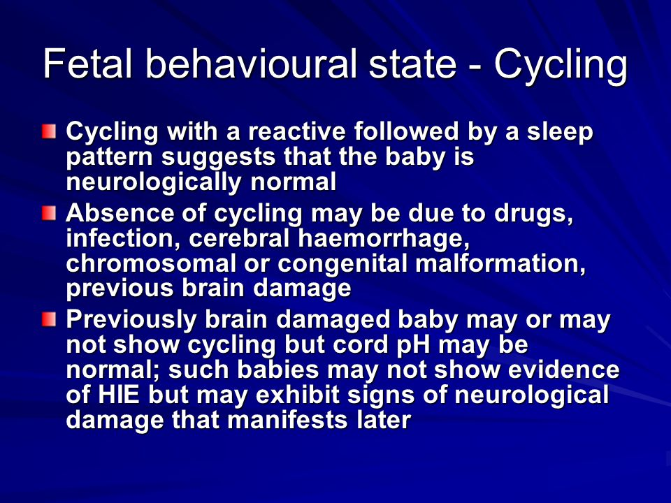 Fetal behavioural state - Cycling