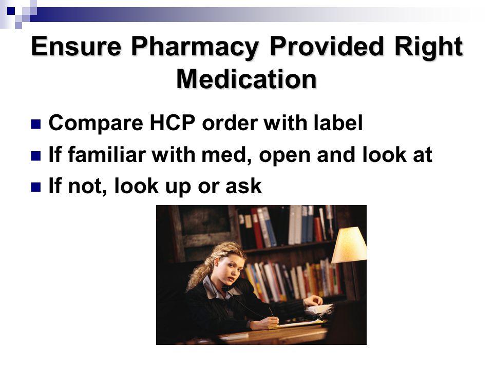 Ensure Pharmacy Provided Right Medication