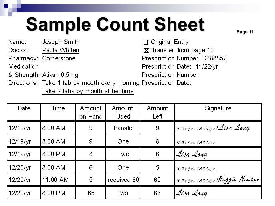 Sample Count Sheet Page 11. Each prescription is entered onto a separate numbered page in the count book.