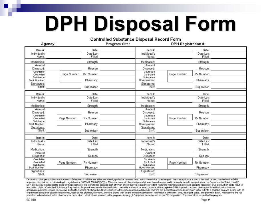 DPH Disposal Form Disposal form pg. 193