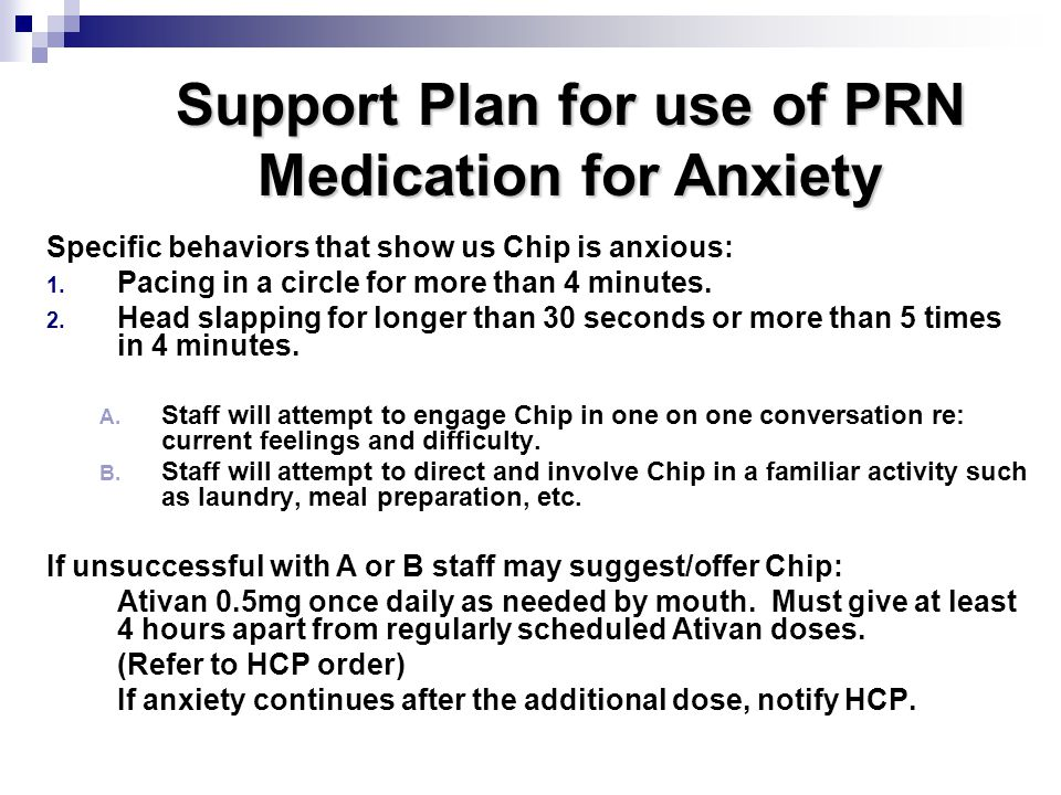Support Plan for use of PRN Medication for Anxiety