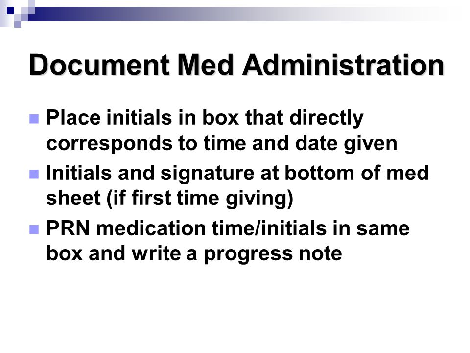 Document Med Administration