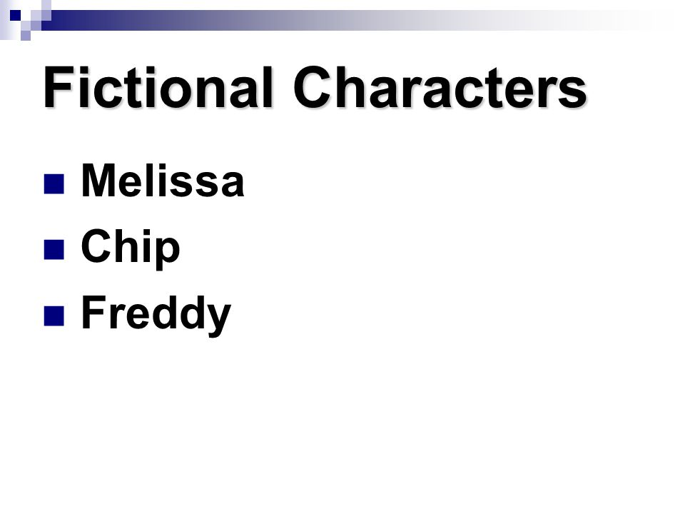 Fictional Characters Melissa Chip Freddy