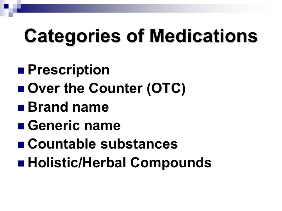 Categories of Medications