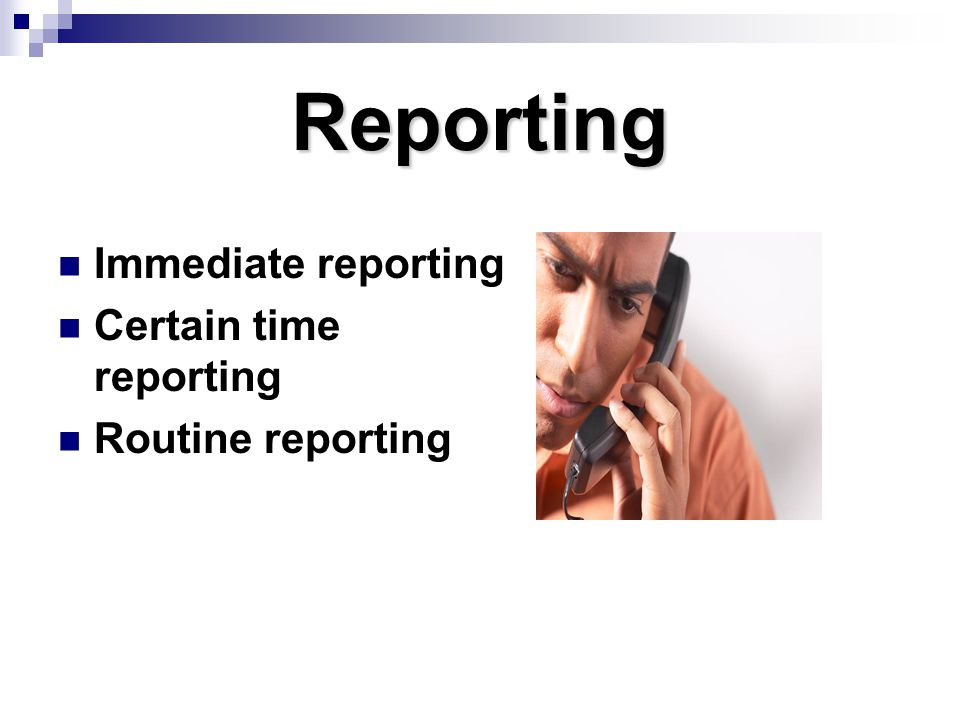 Reporting Immediate reporting Certain time reporting Routine reporting
