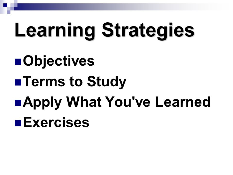 Learning Strategies Objectives Terms to Study
