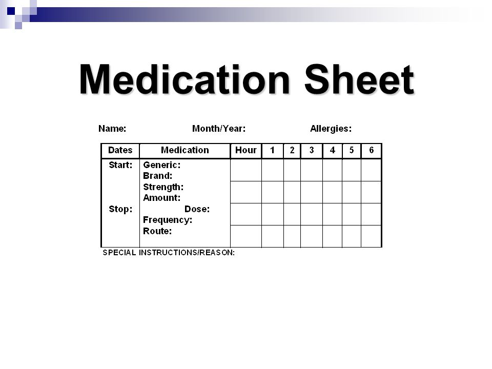 Medication Sheet Documenting accurately on a med sheet is key to safe med administration. Page 132.