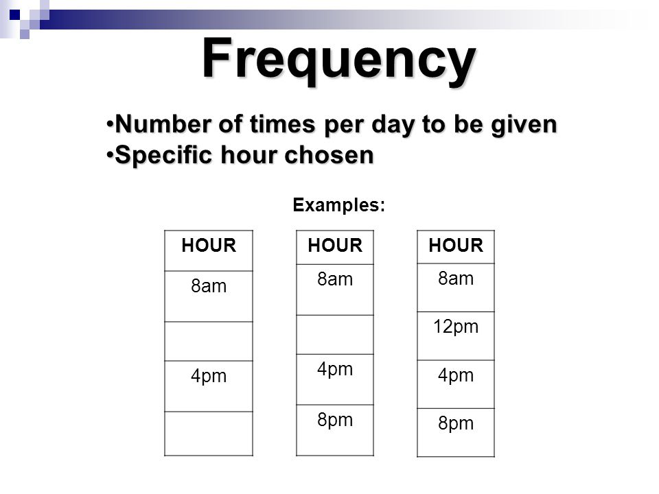 Frequency Number of times per day to be given Specific hour chosen
