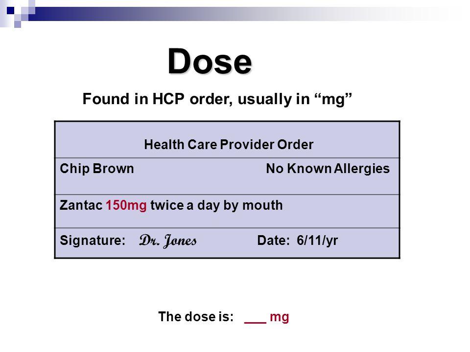 Health Care Provider Order