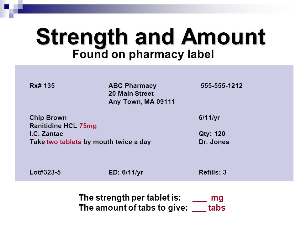 Strength and Amount Found on pharmacy label
