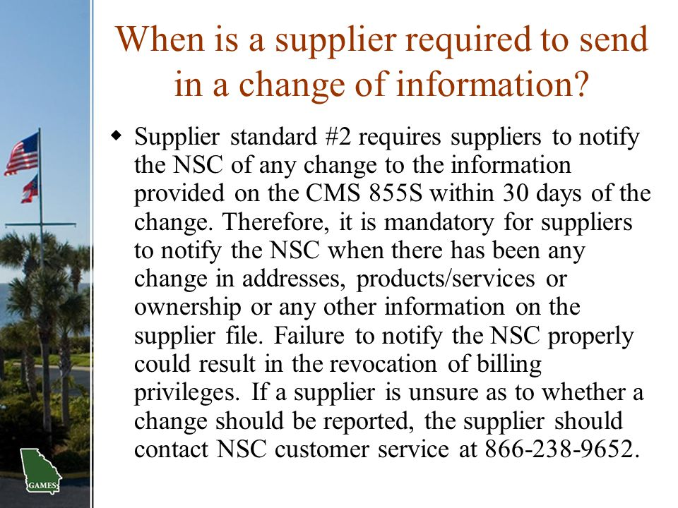 When is a supplier required to send in a change of information