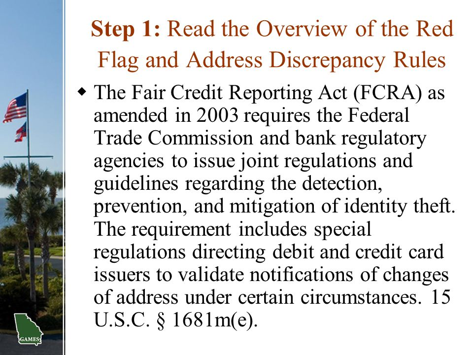 Step 1: Read the Overview of the Red Flag and Address Discrepancy Rules