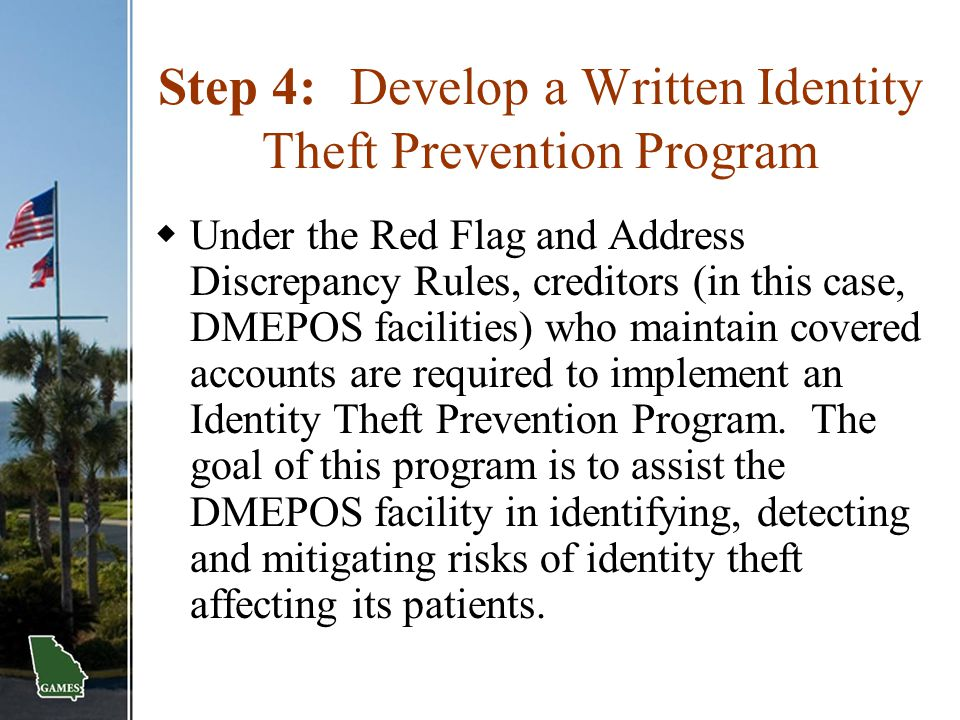 Step 4: Develop a Written Identity Theft Prevention Program