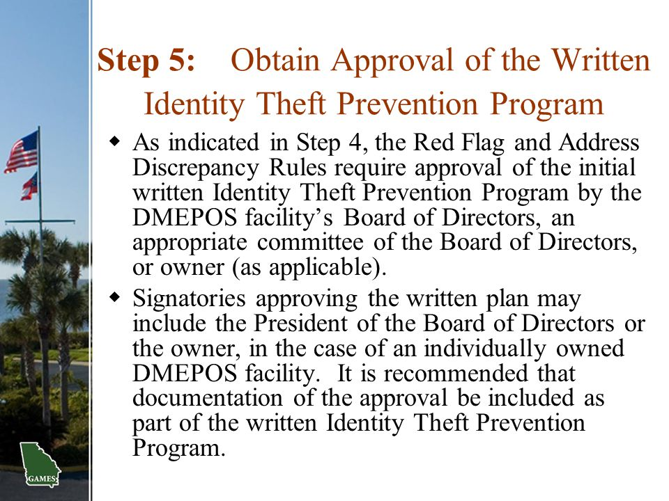 Step 5: Obtain Approval of the Written Identity Theft Prevention Program
