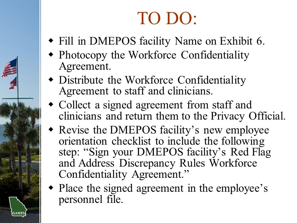 TO DO: Fill in DMEPOS facility Name on Exhibit 6.