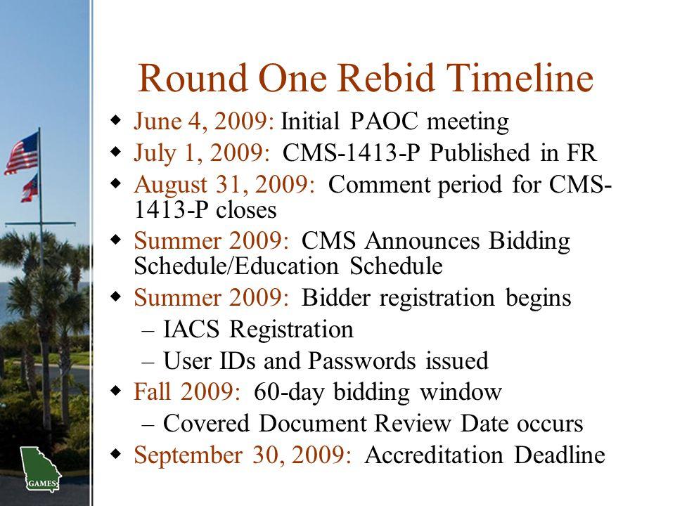 Round One Rebid Timeline