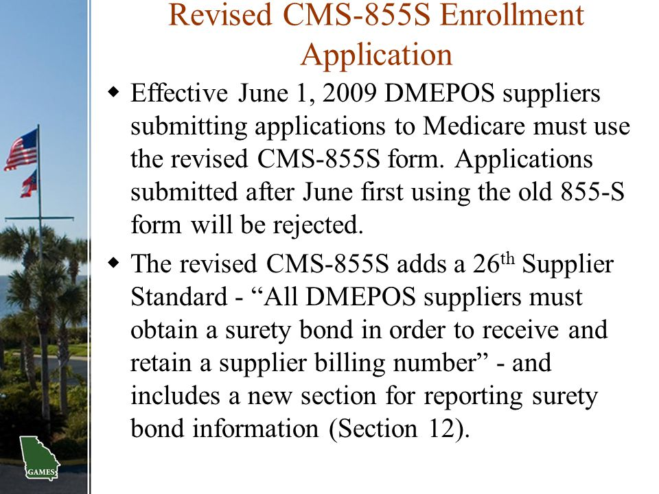 Revised CMS-855S Enrollment Application