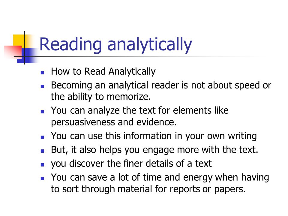 Reading analytically How to Read Analytically