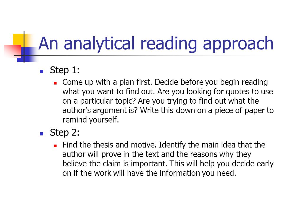 An analytical reading approach