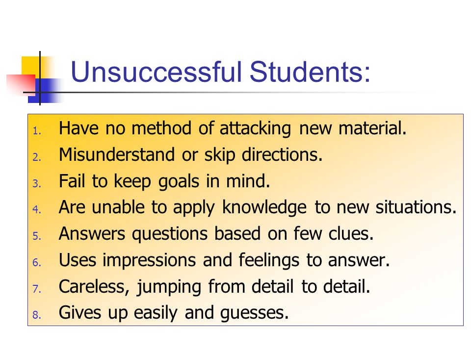 Unsuccessful Students: