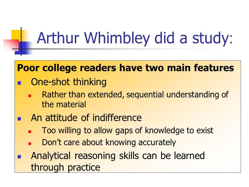 Arthur Whimbley did a study: