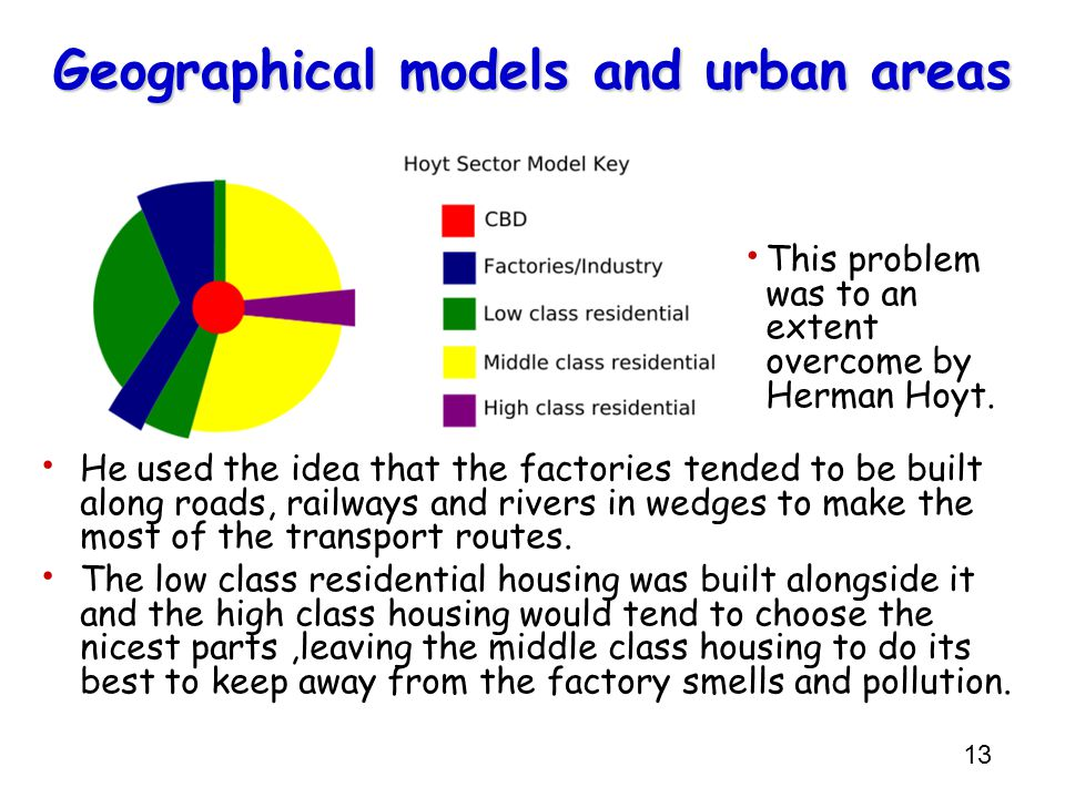 Geographical models and urban areas