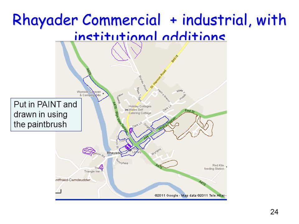 Rhayader Commercial + industrial, with institutional additions