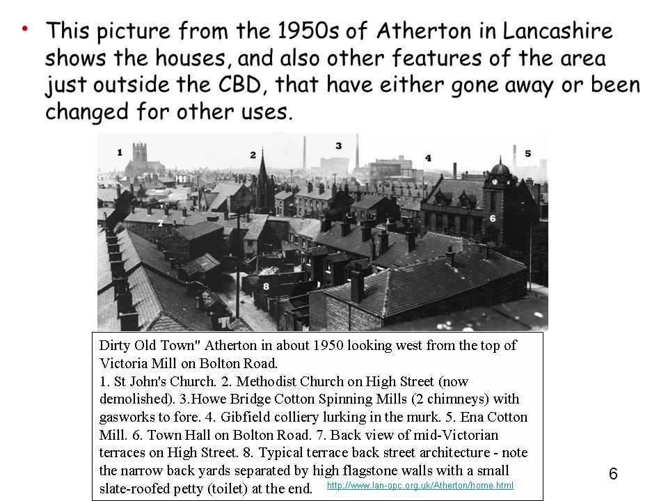 This picture from the 1950s of Atherton in Lancashire shows the houses, and also other features of the area just outside the CBD, that have either gone away or been changed for other uses.