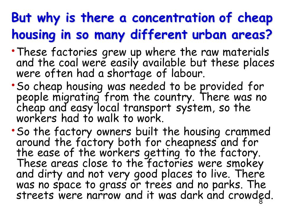 But why is there a concentration of cheap housing in so many different urban areas