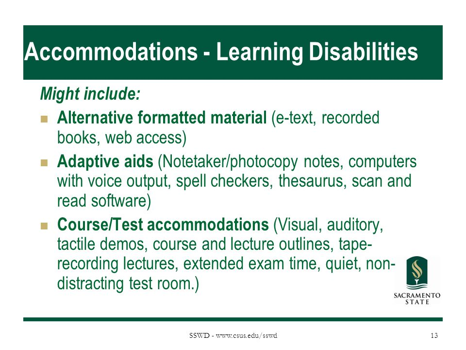 Accommodations - Learning Disabilities